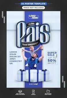 Szablon mediów społecznościowych a4 happy fathers day z rabatem do 50