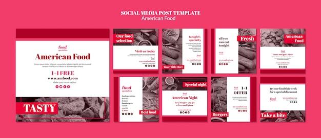 Szablon mediów społecznościowych amerykańskie jedzenie
