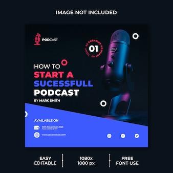 Szablon mediów społecznościowych kanału biznesowego podcastu