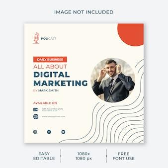 Szablon mediów społecznościowych kanału marketingu cyfrowego podcastu