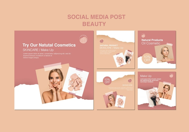 Szablon mediów społecznościowych koncepcja piękna