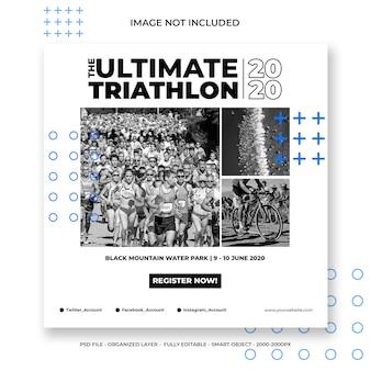 Szablon mediów społecznościowych lub kwadratowy baner na triathlon