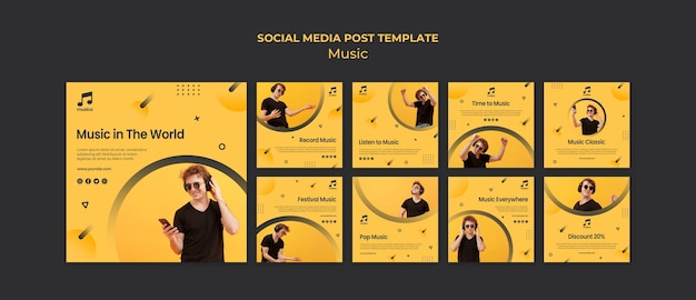 Szablon mediów społecznościowych muzyki