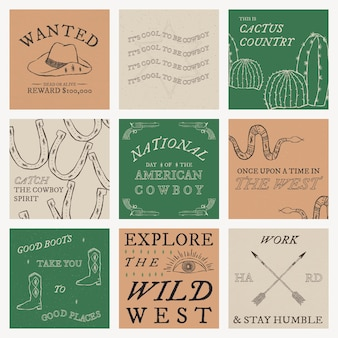 Szablon mediów społecznościowych o tematyce kowboja psd z edytowalną kolekcją tekstów