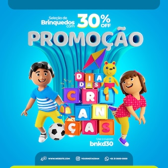 Szablon mediów społecznościowych post na instagram psd dzień dziecka brazylia promocja sprzedaży