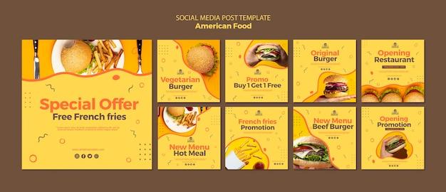 Szablon mediów społecznościowych post z amerykańskim jedzeniem