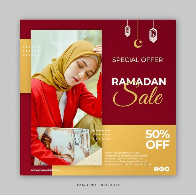 Szablon mediów społecznościowych post z koncepcją promocji sprzedaży ramadan