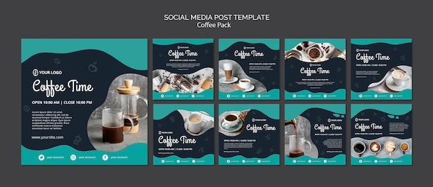Szablon mediów społecznościowych post z pojęciem kawy