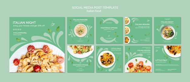 Szablon mediów społecznościowych post z włoskim jedzeniem