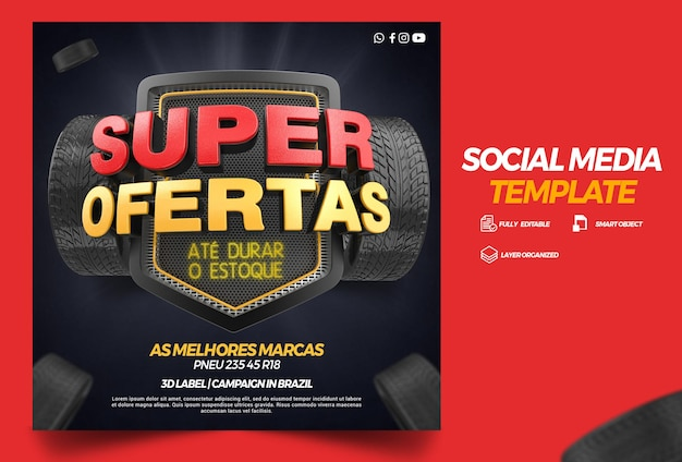 Szablon mediów społecznościowych super oferty kampanii opon w brazylii