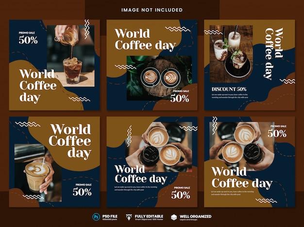 Szablon mediów społecznościowych światowego dnia kawy