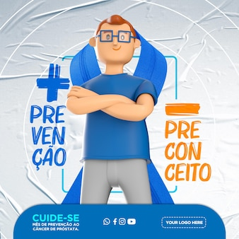 Szablon mediów społecznościowych w portugalskim, listopadowym niebieskim miesiącu profilaktyki raka prostaty