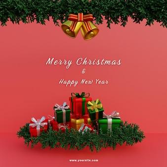 Szablon mediów społecznościowych wesołe prezenty świąteczne i wieniec i dzwonki
