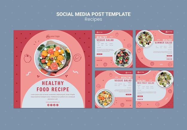 Szablon mediów społecznościowych z przepisem zdrowej żywności