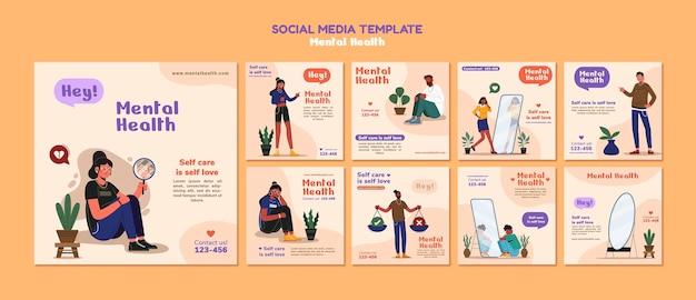 Szablon mediów społecznościowych zdrowia psychicznego