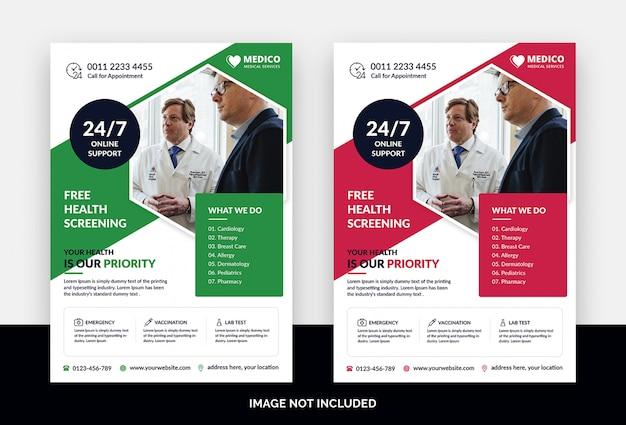Szablon medyczny ulotki opieki zdrowotnej