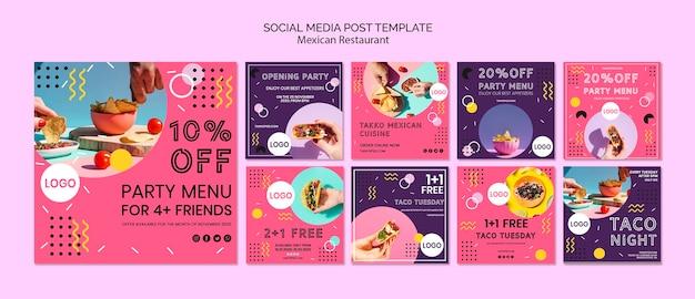 Szablon meksykańskie jedzenie mediów społecznościowych