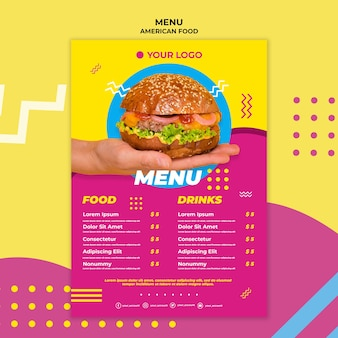 Szablon menu amerykańskie jedzenie