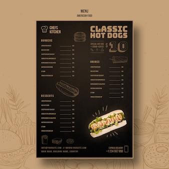 Szablon menu amerykańskie klasyczne hot dogi