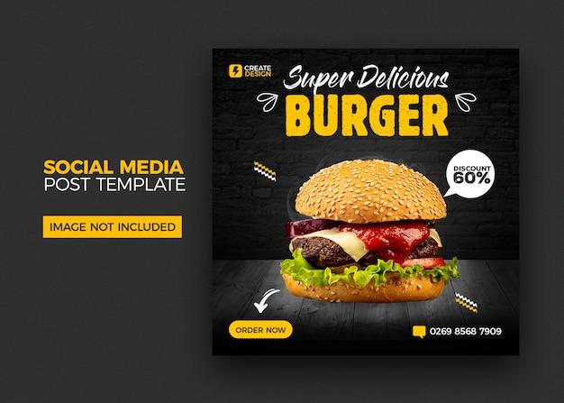 Szablon menu baneru żywności i restauracji mediów społecznościowych