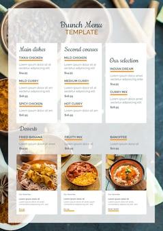 Szablon menu brunch żywności indyjskiej