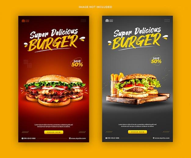 Szablon menu burger promocja media społecznościowe historie banner szablon