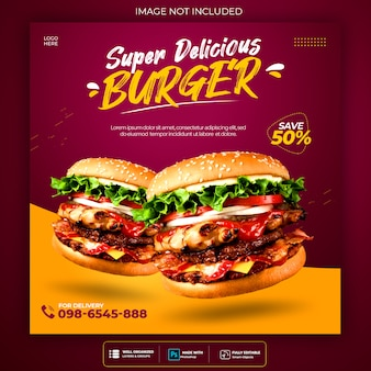 Szablon menu burger promocja social media instagram banner szablon