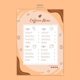 Szablon menu coffeein paczka kawy