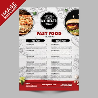 Szablon menu fast food