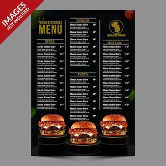 Szablon menu gorącej ciemnej restauracji lub kawiarni