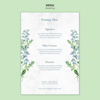 Szablon menu koncepcja ślubu