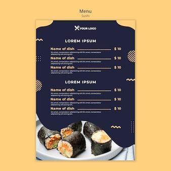 Szablon menu koncepcja sushi