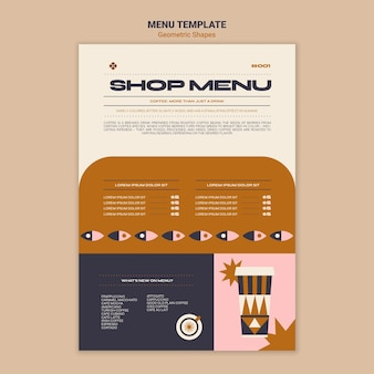 Szablon menu kształty geometryczne