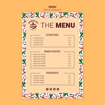 Szablon menu meksykańskiej tradycyjnej restauracji