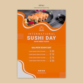 Szablon menu międzynarodowy dzień sushi