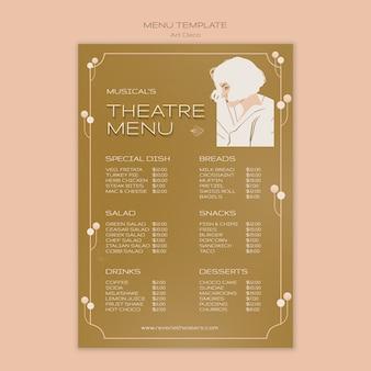 Szablon menu muzycznego w stylu art deco