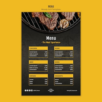 Szablon menu nastrojowy grill
