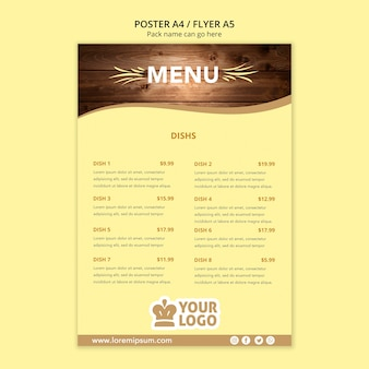Szablon menu plakat restauracji