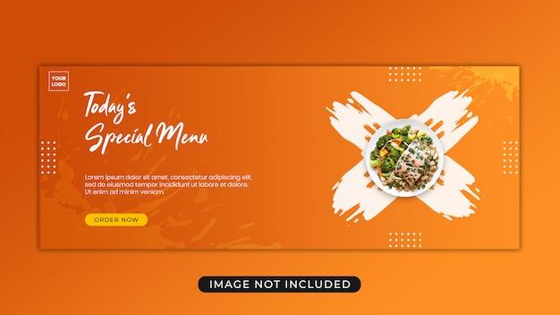 Szablon menu promocji promocja menu żywności facebook banner