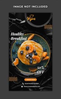 Szablon menu promocyjne zdrowej żywności opowiadania instagram banner