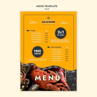 Szablon menu pyszne świeże owoce morza