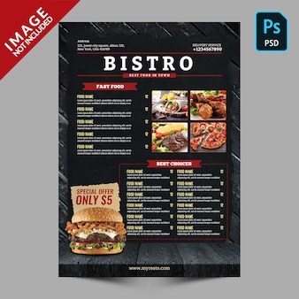 Szablon menu restauracji bistro