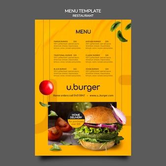 Szablon menu restauracji burger