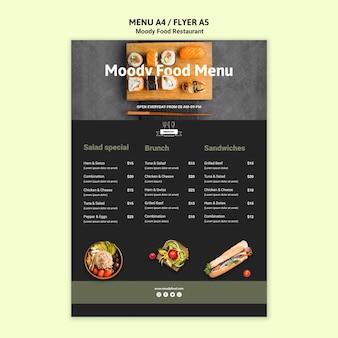 Szablon menu restauracji nastrojowe jedzenie