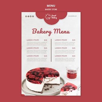 Szablon menu restauracji sklepu piekarniczego