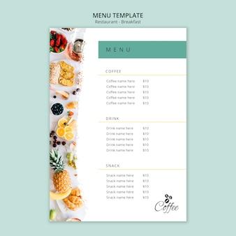 Szablon menu restauracji śniadaniowej