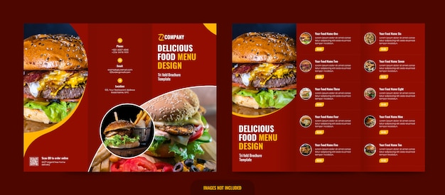 Szablon menu restauracji trifold