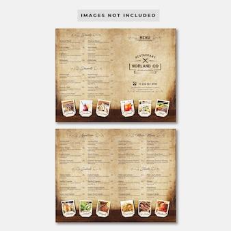 Szablon menu restauracji vintage bifold