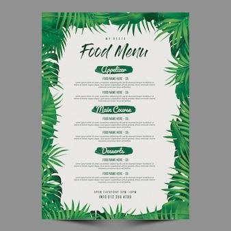 Szablon menu restauracji z tropikalnymi liśćmi