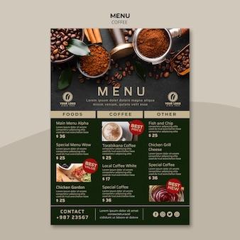 Szablon menu smaczne kawy